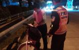 道士骑行误入高速 交警救助解危情