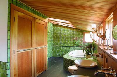 窗框和双开门搭配绿色的瓷砖背景墙