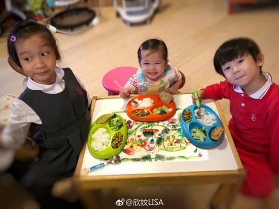陈浩民/陈浩民三个孩子吃饭乖巧可爱