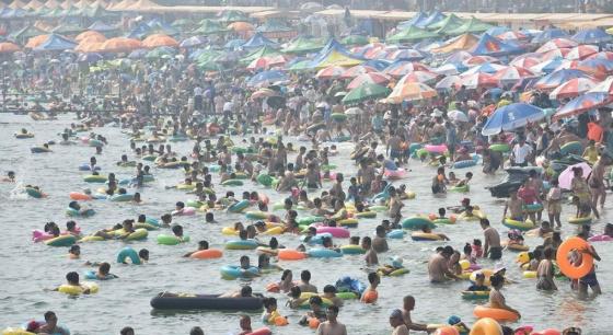 全国多地高温 大连海滨浴场游客如潮
