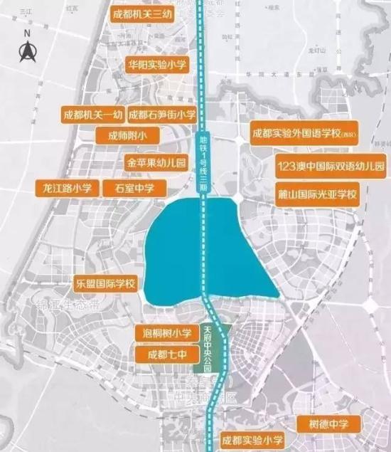 ▲ 天府新区学校分布规划图-2017年成都各区新规划