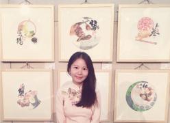 杭州美女用国画推家乡美食 馋倒联合国