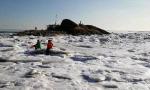 数九寒天锦州湾的海水变海冰 你见过吗?