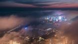 青岛现平流雾美景