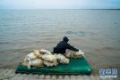 台风天捕虾的渔民