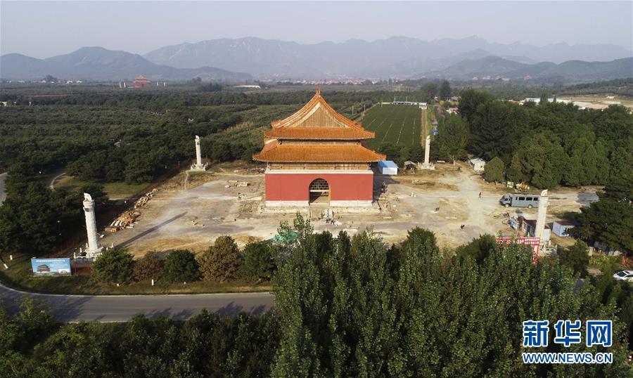 河北唐山遵化市的清东陵景陵大碑楼修复工作进展顺利