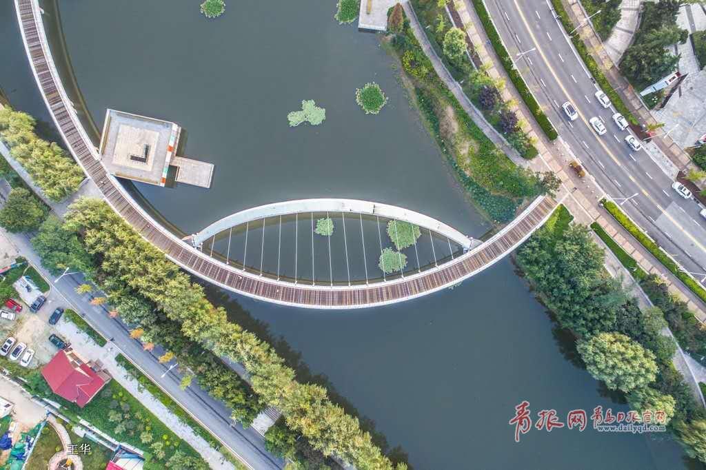 航拍秋日李村河 颜值升级变身最美景观河