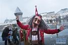 瑞士卢塞恩举办狂欢节 自制特色面具引游客