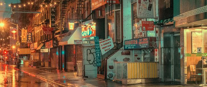 纽约街头的流光溢彩 浪漫气息中的宁静时刻