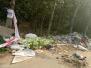 港沟街道绕城高速公路济南综合保税区附近生活垃圾堆积 臭味难闻