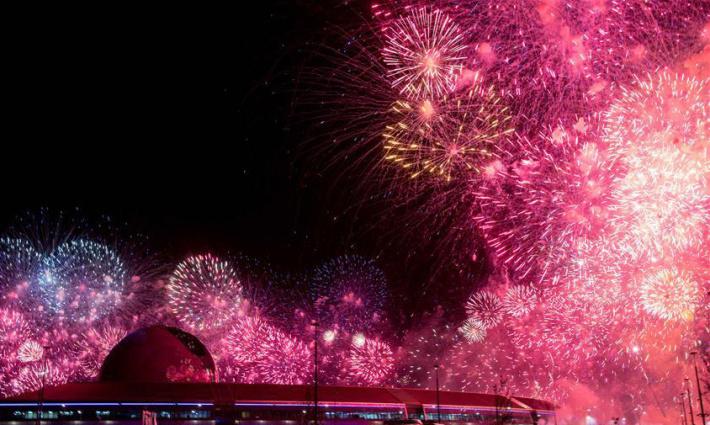 阿斯塔纳专项世博会开幕式上演焰火秀