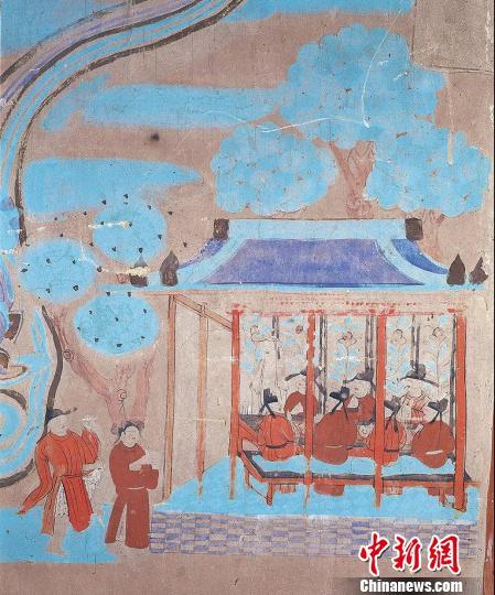 图为莫高窟第108窟中描绘的中唐时期的宅子酒肆。敦煌研究院供图