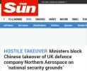 """英官员欲阻止中企收购英国防务公司 宣称怕""""敏感机密外泄"""""""
