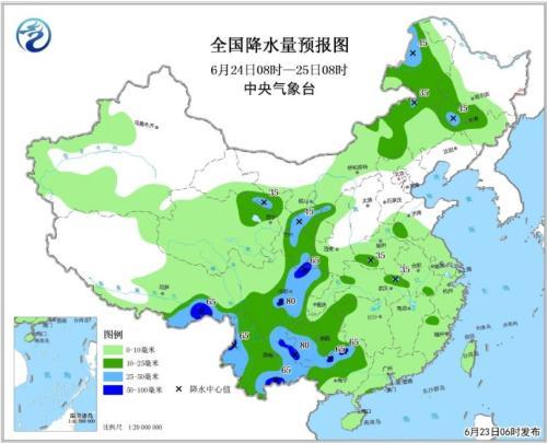 全国降水量预报图(6月24日08时-25日08时)