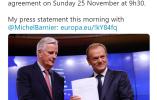 欧洲理事会主席:英国脱欧协议将于11月25日签署